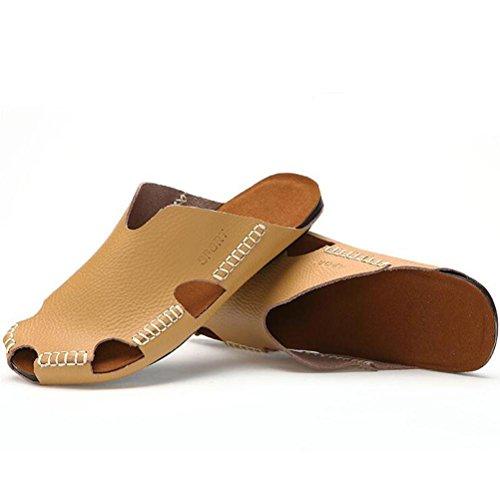 Männer Leder Slipper handgefertigte Vintage Flip Flops Front Paket Sandalen Mode und komfortabel Yellow