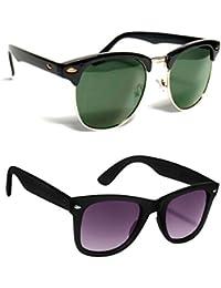 Hupshy 400UV Protected (Green, Purple) Combo Wayfarer Sunglasses