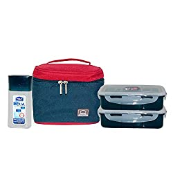 Lock&Lock Plastic Lunch Box Set with Bag, 3-Pieces, Multicolour (HPL758S3CB)