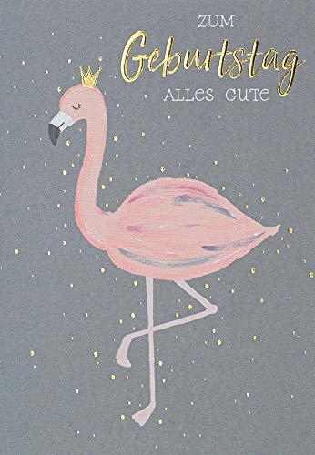 Geburtstagskarte Black&Gold - Flamingo - 11,6 x 16,6 cm