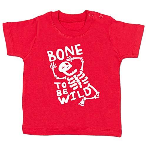 Shirtracer Anlässe Baby - Bone to me Wild Halloween Kostüm - 6-12 Monate - Rot - BZ02 - Babyshirt Kurzarm