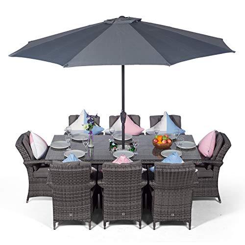 Grand Salon de Jardin en Rotin Arizona | Luxueux Salon de Jardin Rectangulaire 8 Places Gris Table et Chaises avec Seau à Glace | Ensemble de Mobilier d'extérieur en Rotin Poly avec Parasol et Housse