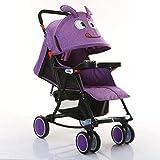 AZW Sonnenschutz-Kinderwagen-Tragetasche und Kinderwagen, Leichter Klapp-Buggy bis 25 kg mit Liegeposition, Sonnenschutz-Vierrad-Kinderwagen,Purple