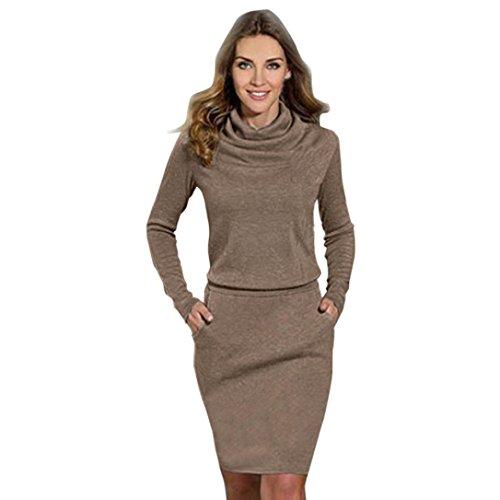 Xinan Damen Kleider Langarm Schlanke Mini Business Cocktailkleid (L, Kaffee) (Kaffee Ärmel)