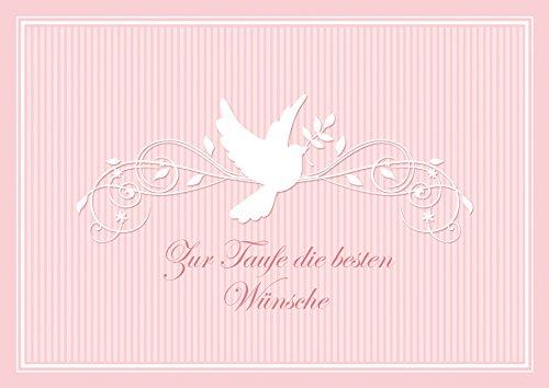 """Erhältlich im 1er 4er 8er Set: """"Zur Taufe die besten Wünsche"""" schöne Glückwunschkarte zur Taufe (Klappgrußkarte/ Grußkarte/ Baby/ Taufkarte/ Geburt/ Babykarte/ Feier) für ein Mädchen in Rosa mit einem Ornament und Taube (Mit Umschlag) (1)"""