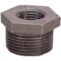 "Yunque de hierro maleable Pipe Fitting, clase 150, hexagonal casquillos, NPT macho x npt Female, acabado en negro, 1-1/2"" x 1-1/4"", Negro, 1"