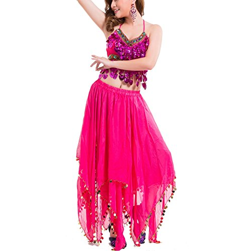 Outfit Shiny Belly Dance Kostüm Women's Performance Chiffon Bead Pailletten Bauchtanz Coat + Skirt + Taille Kette , roses red , (Kostüme Outfits Dance Contemporary)