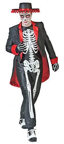 . 48/50 Herren Skelett-Overall und Frack Tag der Toten Halloween (48/50) ()