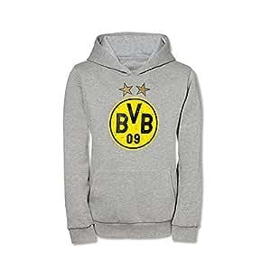 BVB 09 Borussia Dortmund Kinder Kapuzensweatshirt Emblem grau Gr. 152 Kapuzenshirt Sweatshirt Kinderpullover 15213506