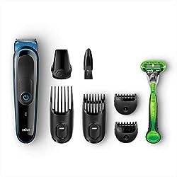 Braun MGK3040 - Set de afeitado multifunción 7 en 1, depiladora masculina, recortadora de barba, cortapelos profesional hombre, negro