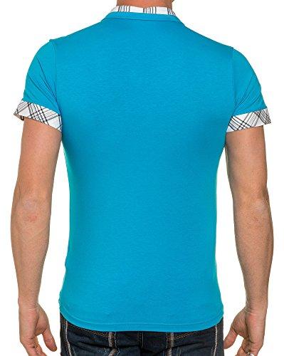 BLZ jeans - Polo Mann mit Doppelkragen Effekt Fliesen Blau