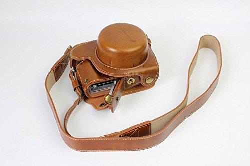 Protezione integrale apertura inferiore della confezione, versione sintetica pu di protezione per la fotocamera da borsa in pelle per treppiede motivo compatibile per panasonic lumix dmc-gf7k gf7 g con la cinghia della spalla cordoncino