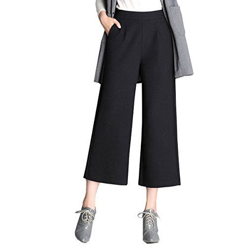 Strickjacke & Wide-leg-pants (Lanmworn Damen Breite Capri Hosen Hohe Taille Elastische Wide Leg Pants Bundhose, Casual Verliert Lange Palazzo Hosen 2017)