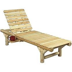 Chaise longue en bois, 100% cèdre blanc naturel, réf B17, Cèdre & Rondins