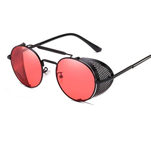 HUILIN Retro Runde Steampunk Sonnenbrille Herren und Damen Seitenbrille Metallrahmen Gothic Spiegellinse Sonnenbrille, schwarz rot