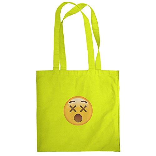 Texlab–dizzy Face Emoji–sacchetto di stoffa Gelb