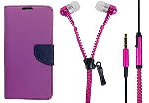 Novo Style Fancy Diary Wallet Flip Cover Case For Xiaomi Redmi1s Purple + Zipper Earphones/Hands free With Mic 3.5mm jack