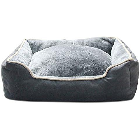 Facile da pulire lavabile Pet Letto di lusso | Grigio | rettangolare/quadrato cuscino/nido con fodere