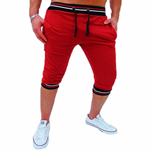 Men's Casual Mid Waist Cotton Trousers red