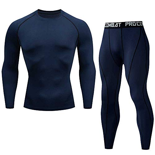 4ea7835d740e9 CHZDJSY Nuevo Fitness Men Sets Pure Black Compression Shirts + Leggings  Base Layer Brand Long Sleeve Tshirt Clothing Set XL Navy Blue