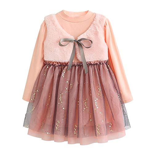 Kobay Baby Mädchen solide Geraffte Patchwork Bow Party Weste Prinzessin Kleid(18-24M,Rosa)