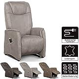 Cavadore Fernsehsessel Mamby / TV-Sessel elektrisch mit 2 Motoren zur Verstellung der Rückenlehne und Fußstütze / Ergonomie M / Belastbar bis 130 kg / Größe: 69x117x83 (BxHxT) / Farbe: Savannah (hellbraun)