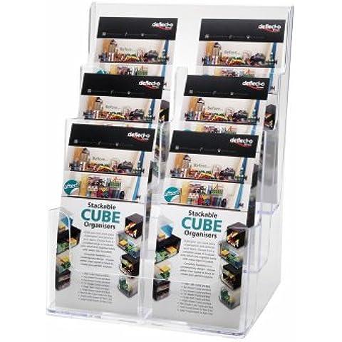 Deflect-o - Soporte para folletos (3 niveles, 6 compartimentos, vertical, 1/3 de A4), transparente