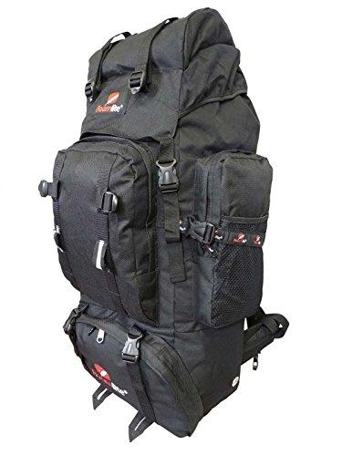Backpacker Rucksack - Festival Camping Rucksack - Rucksack Wanderrucksack – Trekking-Rucksack - Super Leichte 1,2 Kg - Viele Fächer - XL Extra Groß - RL15KG (Schwarz) (Schlafsäcke Rabatt)