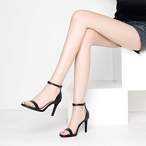 Couleur Fashion Fines Buckle Talons unie Talons Rome Bandage Avec Sandales Hauts SHOESHAOGE Saison Chaussures À Mot Un wRqZYZ4