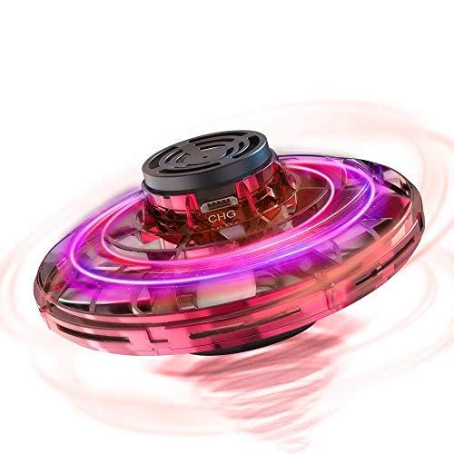 FlyNova UFO Mini Drone, Balle UFO Volante, USB Rechargebale, Avion Infrarouge Induction Hélicoptère Capteurs à 360° Rotaion Contrôlée à la Main avec Lumière LED pour Enfants ou Adultes (Rrouge)