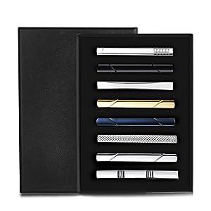 Milacolato 8 Stück Krawatte Clips Set für Männer Krawattenklammer Set für regelmäßige Krawatten Krawatte Hochzeit Business Clips mit