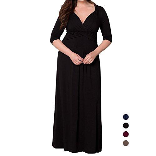 D9Q Frauen elegante dünne reizvolle tiefe V Ausschnitt, Loser Splice Abend Partei langes Kleid Braun