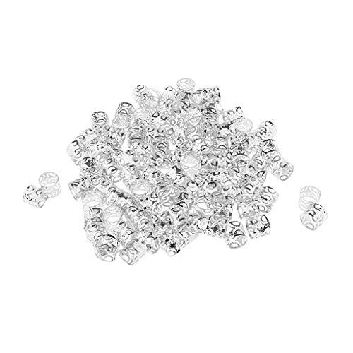 Homyl 100 Stücke Dreadlocks Perlen DIY Stil Haarschmuck Braid Ringe - Silber -