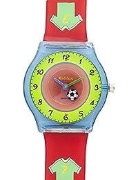 Reloj niño chico infantil, de aprendizaje educativo analógico de cuarzo FUTBOL en caja de regalo, Resistente al agua, Mecanismo Seiko, Batería Sony, rojo, Kiddus modelo 8