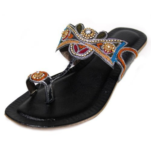 B W & Damen Casual Flat Sandal bestickt indischen Handmade Kolapuri Größe (Multi), ZORA Multy