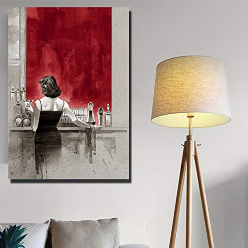 NIMCG Quadro su Tela Ritratto di Donna Africana Dipinti su Tela sul Muro Stampe Decorative su Tela Immagini su Tela per la Decorazione della Parete di casa (Senza Cornice) A2 60x90CM