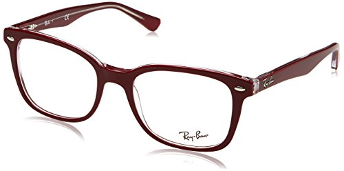 Ray-Ban Unisex-Erwachsene 0RX 5285 5738 53 Brillengestelle, Rot (Topo Bordeaux On Transparent),
