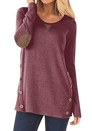 81dc144394b7b3 Yidarton Damen Langarmshirt Elegant Rundhals Pullover Casual Lose Langarm T- Shirt Tunika Tops mit.