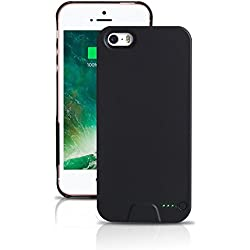 Ultra Fin Coque Batterie Externe Pour iPhone 5/5S/5SE Plus Wireless Power étui de chargement - Stacking Power Protection Smart Case – Noir