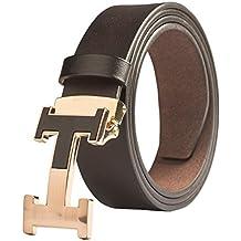 c429cb645 Hombre Cinturón de Cuero Hebilla De Cuello De Acero Ajustable Longitud