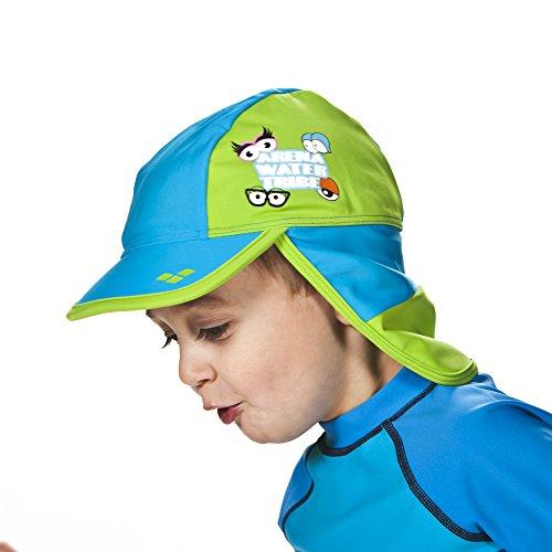 arena Kinder Unisex Sonnenschutz Hut Panel (Schnelltrocknend, UV-Schutz UPF 50+, Oeko-Tex Standard 100), Turquoise-Leaf (816), One Size