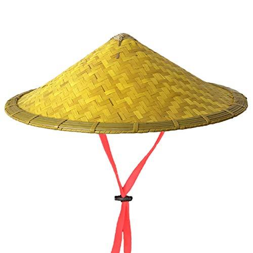 ZHaoZC Bambus Rattan Hüte Retro handgemachte Webart Strohhut Tourismus Regen Kappe Tanz Requisiten Angeln Sonnenschirm Fischer Chinesisch für Männer Frauen (Tanz Kostüm Nach Maß)