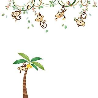 Decowall DA-1507 Singes sur Vigne Autocollants Muraux Mural Stickers Chambre Enfants Bébé Garderie Salon