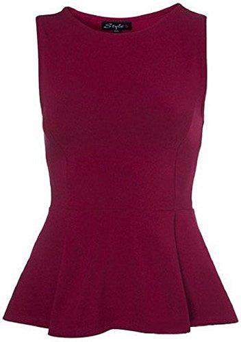 My Fashion Store Haut péplum pour femme, sans manches avec volant évasé, style patineuse Rouge - Bordeaux