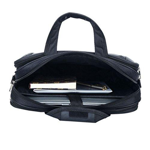 FakeFace Herren Nylon Laptoptasche Notebooktasche Aktentasche Vergrößert Umhängetasche Crossbody Bag Tasche für Laptop Notebook iPad Tablet (Schwarz) #3