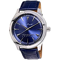Triarrows Classic Herren-Armbanduhr 45mm Armband Leder Marineblau Gehäuse Edelstahl Quarz Analog TGY02
