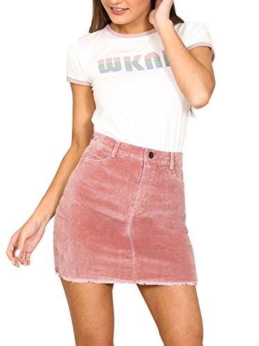 Simplee Apparel Damen Kurz Röcke High Waist Bleistift Knielang Rock Corduroy Skirt mit Fransen Rosa