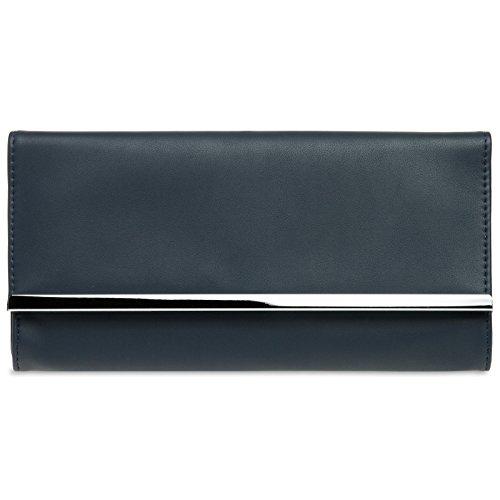 CASPAR TA393 elegante Damen Envelope Clutch Tasche Abendtasche, Farbe:dunkelblau;Größe:One Size
