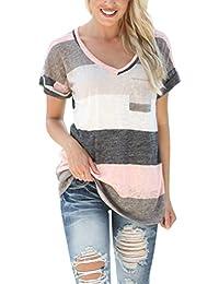 T shirt femme Manche Courtes Col v Causal ete Tops Multicolore Rayure Hauts Cotton Blouse Tunique Mode
