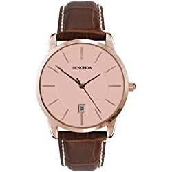 Sekonda Men's Quartz Watch with Pink Dial Analogue Display and Brown Leather Strap 3471.27